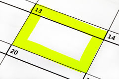 Date Highlighted on a Calendar Royalty Free Stock Image