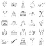 Date icons set, outline style. Date icons set. Outline set of 25 date vector icons for web isolated on white background Stock Image