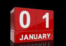 The date of 1 January in white numbers and letters on red, glossy blocks. Standing and mirrored isolated in front of a black background royalty free illustration
