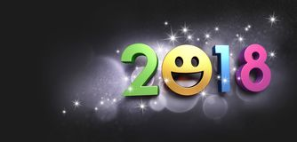 Date 2018 joyful symbol for Greeting card. Joyful New year date 2018 with a smiling face, on a glittering black background - 3D illustration Royalty Free Stock Photo