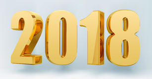 Date 2018 on a light background in 3d format. Gold Shining 2018 Happy New Year Banner. Vector illustration Stock Image