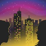 Date lovers. A date lovers in the middle of the night city stock illustration