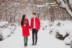 A date of lovers with my park in the winter. A bouquet of red flowers, walk, hug, kiss, laugh in a romantic setting. Portrait of a couple, husband and wife stock photo