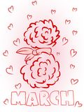 Date March 8 in the shape of flowers and ribbons for the International Women`s Day.  Royalty Free Stock Image