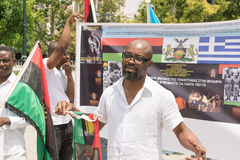 DATE: 30 may 2015. LOCATION: Sintagma in Athens Greece. EVENT: the 30th may rally day in remembrance of Biafrans fallen heroes who Royalty Free Stock Photography