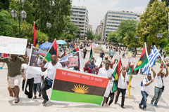 DATE: 30 may 2015. LOCATION: Sintagma in Athens Greece. EVENT: the 30th may rally day in remembrance of Biafrans fallen heroes who Royalty Free Stock Photos