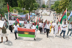 DATE: 30 may 2015. LOCATION: Sintagma in Athens Greece. EVENT: the 30th may rally day in remembrance of Biafrans fallen heroes who Stock Photography