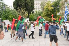 DATE: 30 may 2015. LOCATION: Sintagma in Athens Greece. EVENT: the 30th may rally day in remembrance of Biafrans fallen heroes who Stock Image