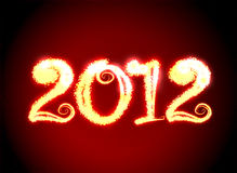 Date New Year 2012. On dark red background Royalty Free Illustration