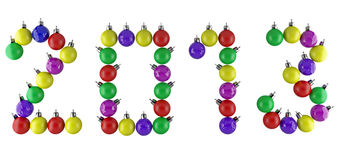 Date of new year 2013. Made of christmas ornaments Royalty Free Stock Image