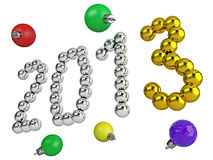 Date of new year 2013. Made of metal balls Royalty Free Stock Image