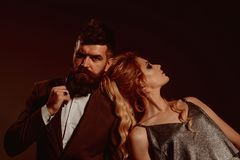 Date night. Couple in love. Bearded man and woman on first date. Couple of man and woman date on valentines day. Date night. Couple in love. Bearded men and stock photos