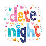 Date night. Decorative type lettering design Royalty Free Stock Photos