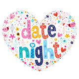 Date night heart shaped typography lettering design Stock Image
