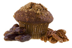 Date and nuts muffin Royalty Free Stock Images