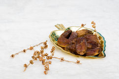 Date palm. Dates fruit on golden tray Royalty Free Stock Photos