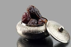 Date Palm in a Silver Jewelry Bowl Royalty Free Stock Image