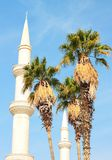 Date Palm Trees and Beautiful Minaret Royalty Free Stock Images