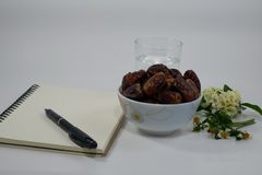 Date Palms Flowers Note Book White Background. Notebook with a pen for saving. There is a small flower placed next to it royalty free stock photos