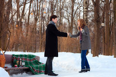 Date in the park. Winter date in the park Stock Photography