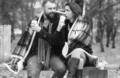 Date in a park lovers on a bench Stock Images