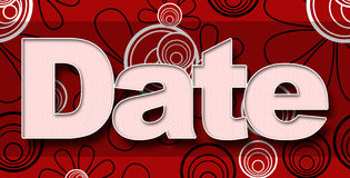 Date in Red Black White Floral Background Stock Photo