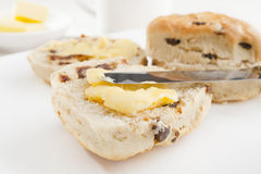 Date Scones and Butter Stock Images