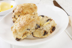 Date Scones with Butter Royalty Free Stock Photos