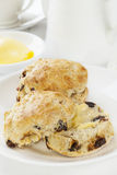 Date Scones with Butter Stock Photo