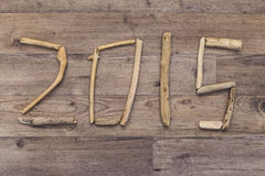 Date 2015 spelt with driftwood Royalty Free Stock Image