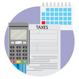 Date of taxation icon app. Tax accounting icon, vector finance inheritance tax illustration Royalty Free Stock Photos