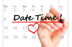 Date time marked on calendar Stock Photo