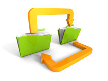 Date Transferring Concept With Document Folders And Arrows. 3d Render Illustration Royalty Free Stock Photo