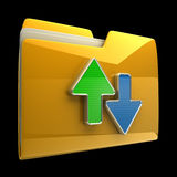 Date transferring concepts. Yellow folder icon isolated on black background High resolution 3D Royalty Free Stock Images