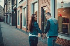Date of two lovers. Teenagers walk around the city. Couple in love spending time together. Royalty Free Stock Photo