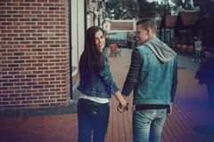 Date of two lovers. Teenagers walk around the city. Couple in love spending time together. Stock Photography