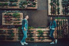 Date of two lovers. Teenagers walk around the city. Couple in love spending time together. Stock Image