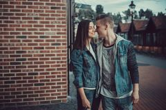 Date of two lovers. Teenagers walk around the city. Couple in love spending time together. Stock Photos