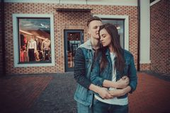 Date of two lovers. Teenagers walk around the city. Couple in love spending time together. Stock Images