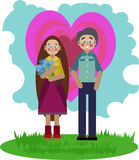 A date between two young people. On Valentine`s day Royalty Free Stock Image