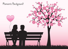 Date under the cherry tree Royalty Free Stock Photos
