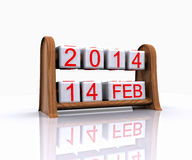 Valentine's Day. Date - Valentine's Day 2014, 3D Royalty Free Stock Photography
