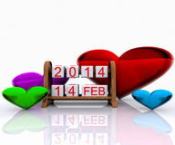 Valentine's Day. Date - Valentine's Day 2014, 3D vector illustration
