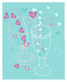 He and she on a date on Valentine's Day. Decorative composition Royalty Free Stock Photos