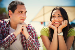 Date. Young couple on first date, outdoor shot summer day stock photo