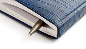 Datebook and steel pen. On a white background Royalty Free Stock Image