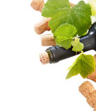 Dated wine bottle corks and bottle Stock Photo