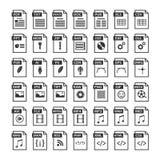 Datei-Art Ikonen Dateiformatikone eingestellt in Schwarzweiss stock abbildung