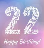 Datei ENV-8 eingeschlossen 22 Jahre Geburtstag feiern Dekorativer Schrifttyp vektor abbildung