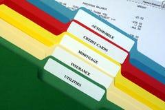 Datei-Faltblätter der persönlichen Rechnungen Stockfoto